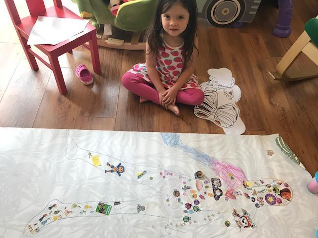 Decorated outline of Isla's body.
