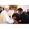 Fr Gideon meeting Pope Francis