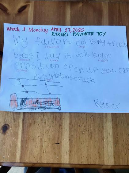 Ryker Favourite Toy writing