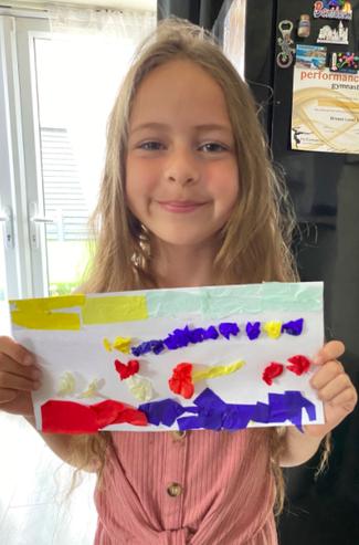 Tia created some beautiful artwork using tissue paper.