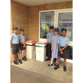 Communal recyling bins are being used