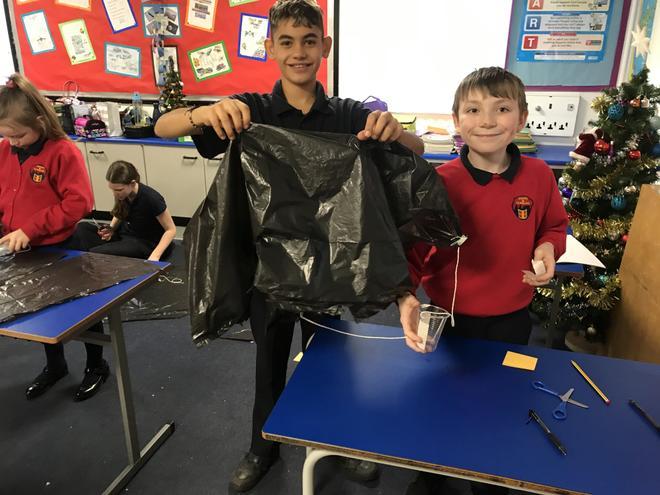 Making their parachutes