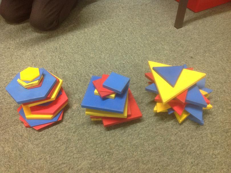 Sorting shapes.