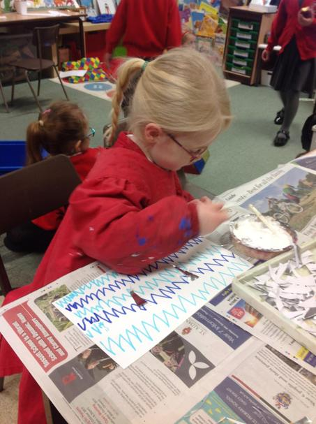 Practising zig zags to make spiky, icy pictures.