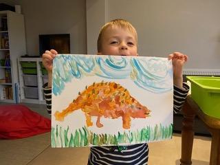 Freddie's orange ankylosaurus.