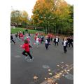 Flying our leaf kites.