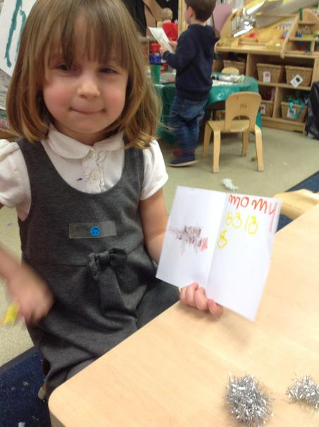 Writing cards to our families.