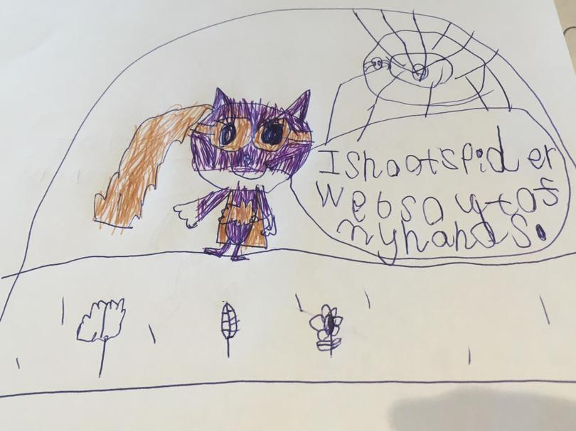 Sofia has drawn herself as 'Bat Girl'. She is a Superhero who spins webs to save people.
