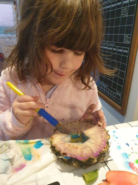 Olivia has been exploring textures of fruit.