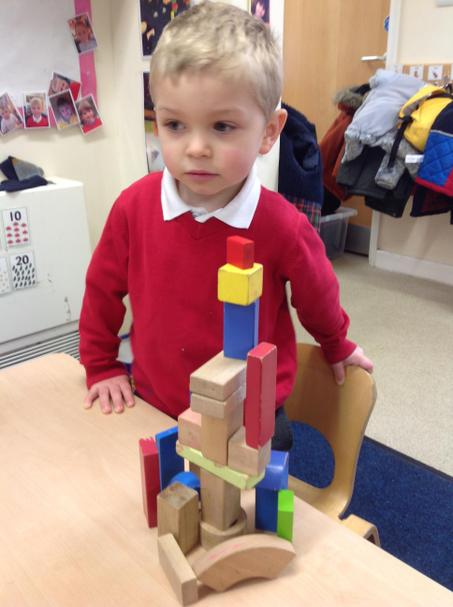 Building towers using different shapes.