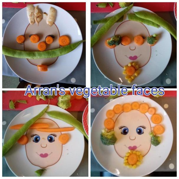 Arran's vegetable faces.