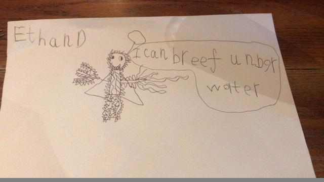 A wonderful Superhero power to be able to breathe under water. Great idea Ethan.