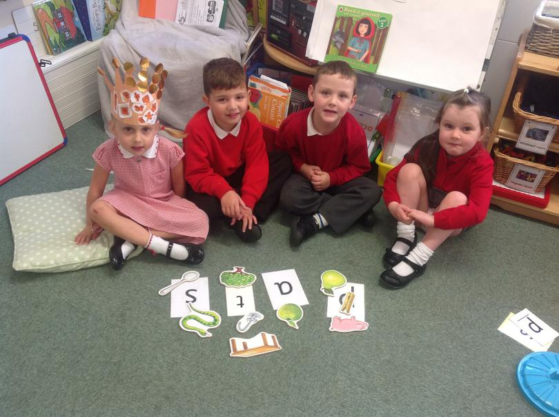 Learning initial sounds.