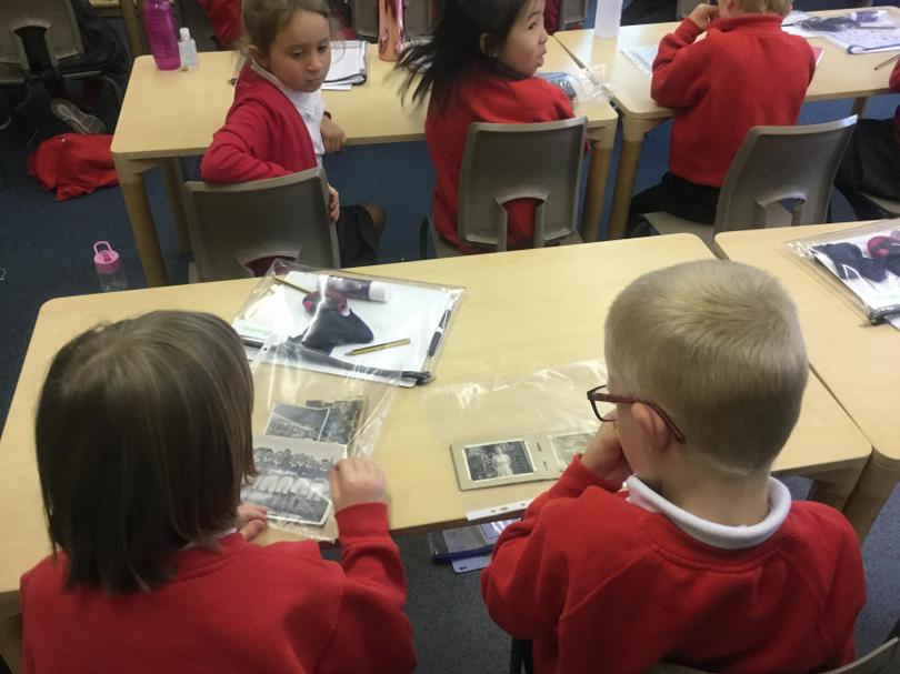 We looked at photos from Grandad's life.