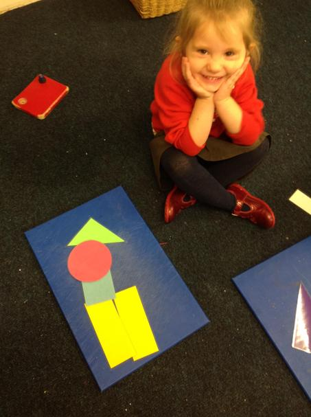 Making pictures with shapes.