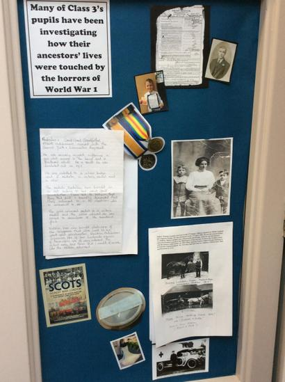 The children have been finding family links to WWI