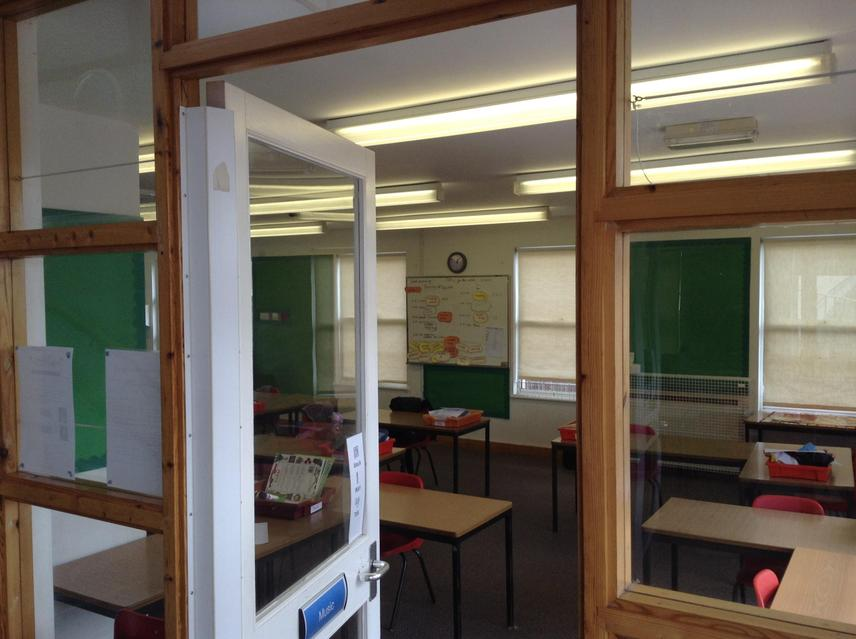 The classroom entrance (It use to be the music room and a Year 1 teaching space)