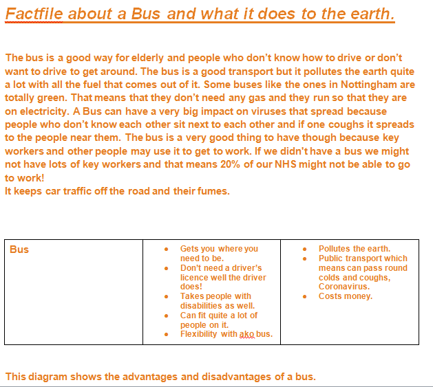 Jade's factfile on buses