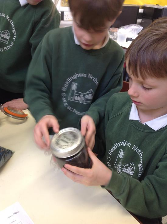 Investigating the different layers in soil.