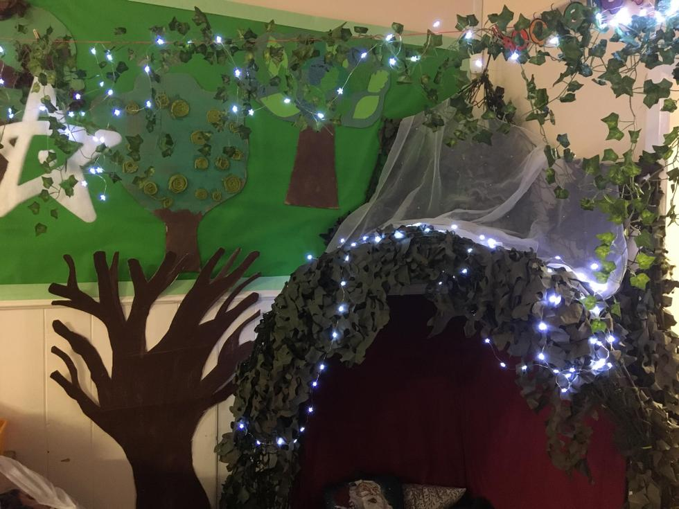 At Christmas, our woodland reading corner lit up!