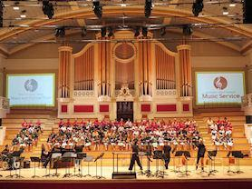Taking part in a music concert at Demontfort Hall