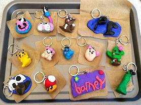Keyrings made by the children in Art Club