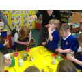 Mixing potions in the classroom.