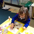 We used hand prints to make feathers