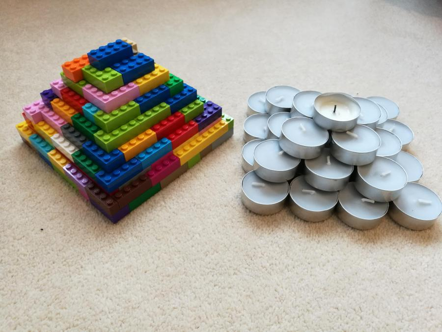 Justin experimented with Lego and candles to make step pyramids.