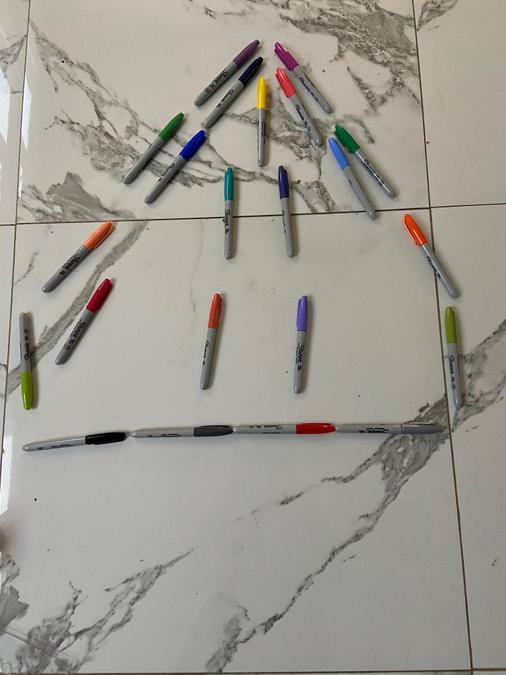 Louisa also made a pyramid using coloured pens.