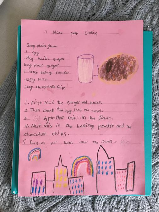 Isla has written out a delicious cookie recipe!