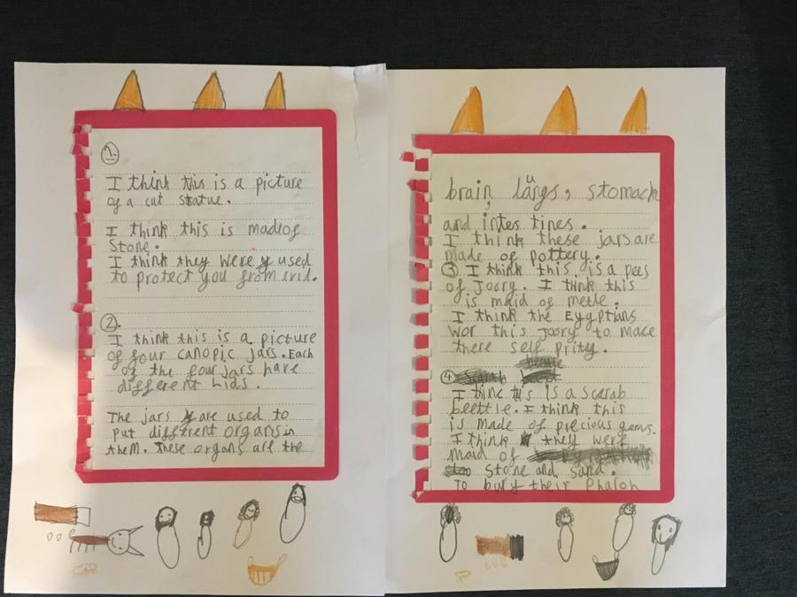 Fantastic sentences from Isla's artefact investigation.
