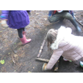 ...by first making a barrier of larger sticks.