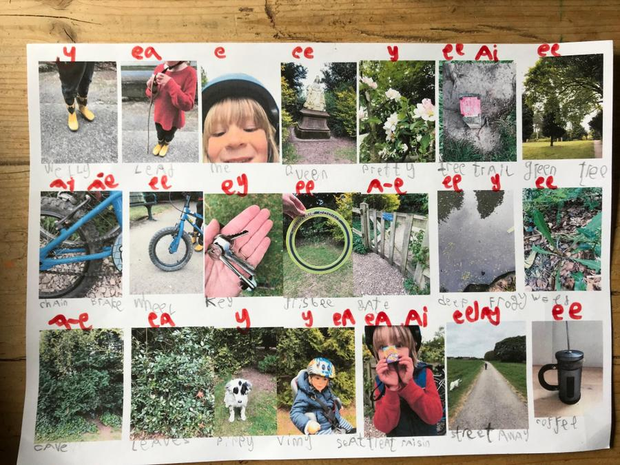 Arlo had fun finding alternative 'ee' words.