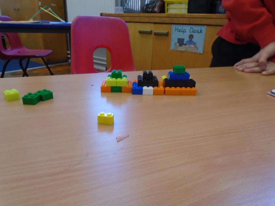 Micah's brilliant pyramid's built from Lego.