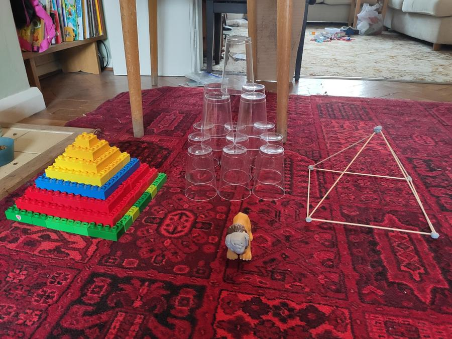 Katherine has constructed three brilliant pyramids and created a Sphinx to guard them!