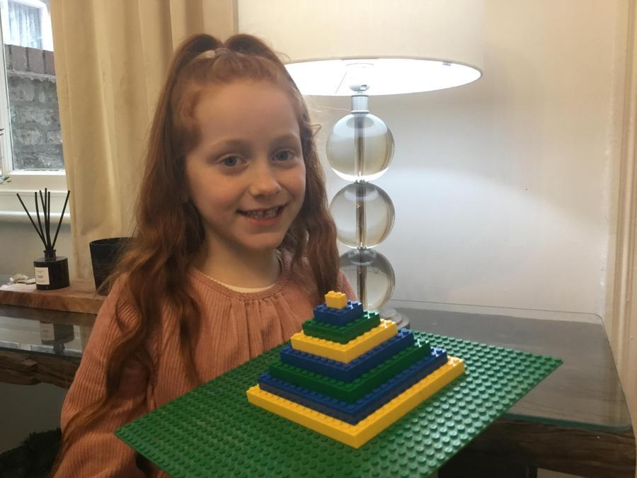 Harper has created a superb lego pyramid.