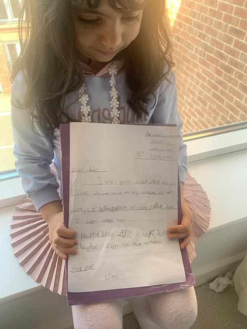 Zeenah wrote a lovely letter to Bear!
