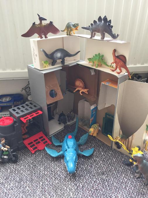 Ralph made a super Dino world for our weekly Zoom!