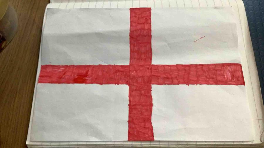 Eve made a great version of the St George's flag for England.