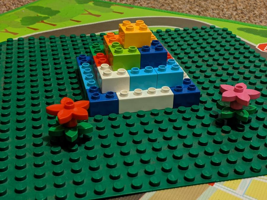 Max's brilliant step pyramid using Lego.