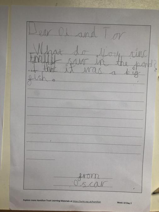 Oscar wrote a letter like Emily in Dear Greenpeace