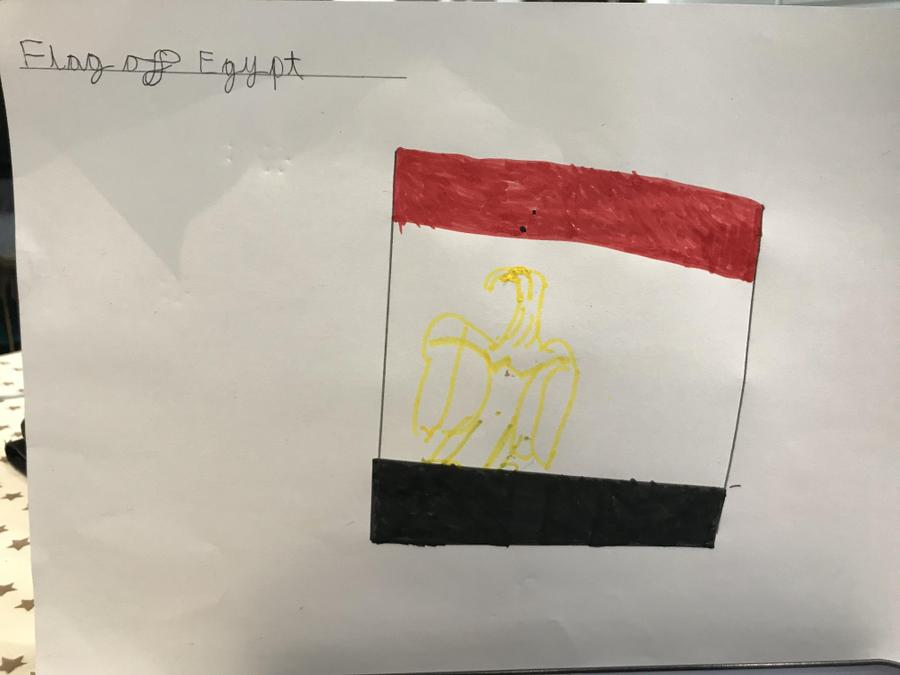 Freddie's drawing of the Egyptian flag.