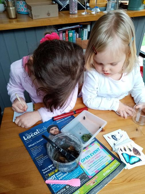 Abi and her sister finding out about mini-beasts!