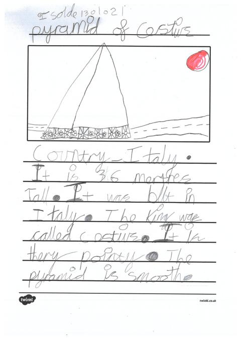 Isolde's work  about pyramids across the world.