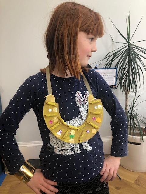 Eva looking fabulous in her magnificent Egyptian collar and cuff!