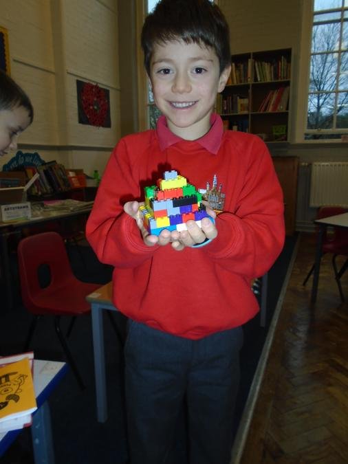 Step pyramid made from Lego.