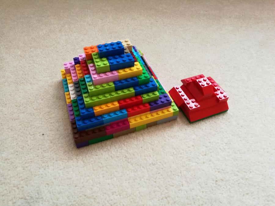 Justin made a step pyramid using Lego.