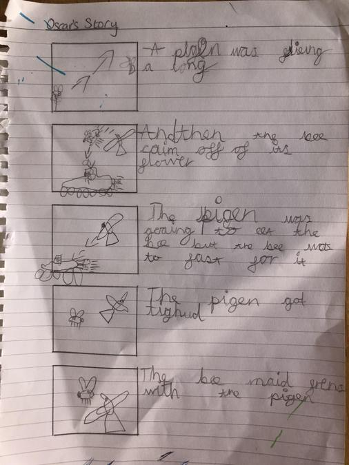 Oscar did a storyboard & created an animation!
