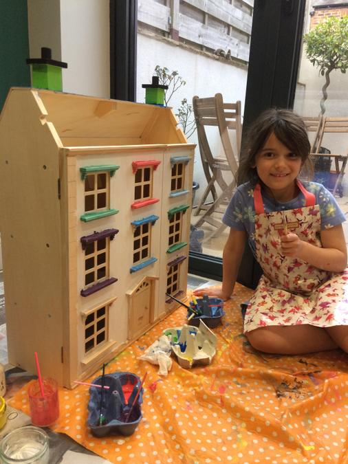 Julia has been painting a dolls house!